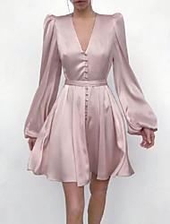 cheap -A-Line Minimalist Elegant Homecoming Cocktail Party Dress V Neck Long Sleeve Short / Mini Imitation Silk with Sleek 2021