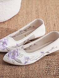 cheap -Women's Flats Chunky Heel Pointed Toe Wedding Sandals Basic Chinoiserie Cotton Flower Floral White Pink Green / Booties / Ankle Boots