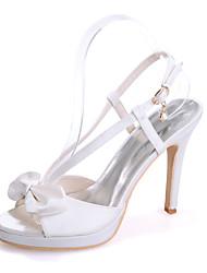 cheap -Women's Wedding Shoes Stiletto Heel Open Toe Satin Imitation Pearl Solid Colored White Purple Dark Purple