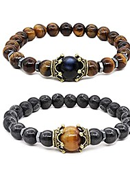 cheap -tiger eye bracelet set therapy hematite magnetic bracelets bracelets bring luck crown king queen natural stone beads couple bracelet for men women (a)