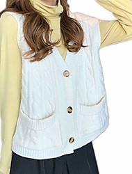 cheap -vest sweater women autumn knitted cardigan vests sleeveless button pocket jacket-white-one size