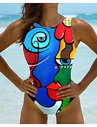 cheap -Women's One Piece Monokini Swimsuit Color Block Blue Blushing Pink Rainbow Swimwear Bathing Suits New Vintage Sexy