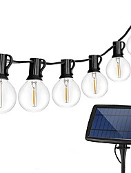 cheap -Solar String Lights Outdoor 32ft 25 Sockets G40 Bulbs Hanging Solar Lights Patio String Lights Commercial Grade Waterproof for Patio Yard Gazebo Porch Cafe Bistro Outdoors