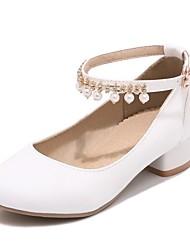 cheap -Girls' Heels Flower Girl Shoes Princess Shoes Halloween PU Little Kids(4-7ys) Big Kids(7years +) Pearl White Black Beige Spring &  Fall