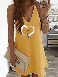 cheap -2020 european and american new amazon aliexpress ebay hot style women's heart-shaped print suspender dress