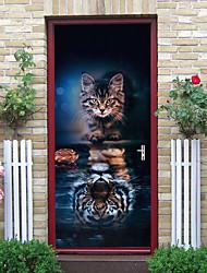"cheap -2pcs Self-adhesive Creative Ferocious Cat Door Stickers For Living Room Diy Decorative Home Waterproof Wall Stickers 30.3""x78.7""(77x200cm), 2 PCS Set"