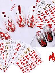 cheap -10 Pcs Art Laser Shiny Nail Art Flame Sticker Ultra-thin Tape Adhesive Popular Nail Sticker Multicolor Optional