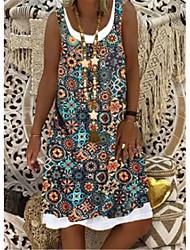 cheap -Women's A Line Dress Knee Length Dress Blue khaki Light Green Dark Blue Sleeveless Print Spring Summer Casual / Daily 2021 S M L XL XXL XXXL