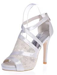 cheap -Women's Wedding Shoes Stiletto Heel Peep Toe Lace Satin Floral White Black Pink