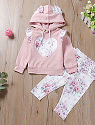 cheap -Baby Girls' Active Floral Print Long Sleeve Regular Regular Clothing Set Blushing Pink