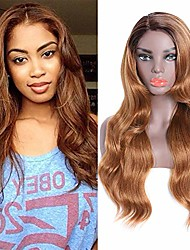 cheap -long wavy ombre strawberry blonde wig - longqibeauty natural looking body wave synthetic wig for women, right side parting heat resistant cosplay wig 2 tone color dark roots with #27 (26 inches)