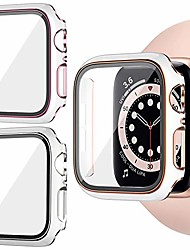 cheap -2 pack case with tempered glass screen protector compatible with apple watch 40mm se series 6/5/ 4,  hard pc cover all-around protective bumper iwatch accessories for men women(2 color)