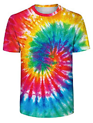 cheap -simyjoy unisex colourful tie dye vintage pigment striped t-shirt short sleeve shirt for men and women 006 s