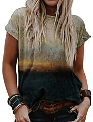 preiswerte -Grafik T-Shirts für Frauen plus Größe Vintage Grafikdruck T-Shirts Sommer lässig Kurzarm Rundhalsausschnitt niedlich sexy Tops Tuniken Khaki