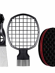 cheap -3 pieces hair combs set, afro twist comb 2 in 1 afro twist curl comb, metal hair pick comb afro pick comb and big holes hair sponge brush twists sponge barber tool for hair styling