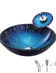 cheap -Mediterranean style blue gradient stripe round basin tempered glass wash basin with waterfall tap sink