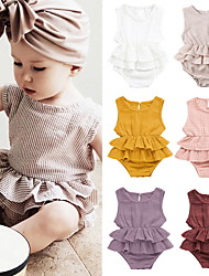 cheap -Baby Girls' Basic Solid Colored Ruffle Sleeveless Romper White Purple Red