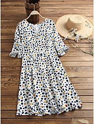 cheap -Women's Wrap Dress White Black Long Sleeve Polka Dot Leopard Graphic Prints Print Round Neck Basic S M L XL 2XL
