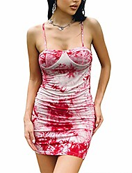 cheap -soliloquy women's sexy side drawstring spaghetti strap dress angel print backless ruched bodycon mini party dress (x-pink, m)