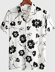 cheap -Men's Shirt Floral Graphic Prints Button-Down Short Sleeve Casual Tops Basic Fashion Breathable Comfortable White