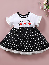 cheap -Baby Girls' Active Polka Dot Print Print Short Sleeve Knee-length Dress White