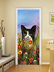 "cheap -2pcs Self-adhesive Creative Flower Kitten Door Sticker Living Room Diy Decorative Home Waterproof Wall Stickers 30.3""x78.7""(77x200cm), 2 PCS Set"