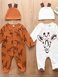 cheap -Baby Boys' Active Basic Animal Print Long Sleeve Romper White Brown