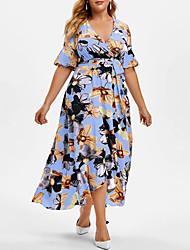 cheap -Women's Plus Size Dress Swing Dress Maxi long Dress Half Sleeve Floral Graphic Drawstring Ruffle Black Blue Blushing Pink L XL XXL XXXL 4XL