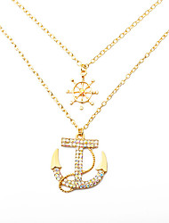 cheap -Women's Clear Cubic Zirconia Necklace Pave Anchor European Alloy Gold Silver 55 cm Necklace Jewelry 1pc For Street
