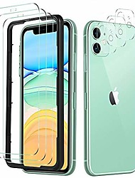 cheap -msova tempered glass screen protector replacement for iphone 11, + camera screen protector [3 pieces], 9h toughened glass hd glass bubble free fits replacement for iphone 11 smartphone. clear