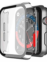 cheap -misxi 2-pack hard pc case with tempered glass screen protector compatible with apple watch series 6 se series 5 series 4 44mm - (transparent with red button)