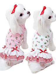 cheap -Dog Cat Wedding Dress Puppy Clothes Dog clothes Embroidered Princess Flower Princess Lolita Sweet Casual / Daily Weekend Dog Clothes Puppy Clothes Dog Outfits Breathable White Pink Costume for Girl