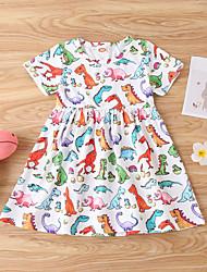 cheap -Baby Girls' Basic Dinosaur Print Short Sleeve Dress White