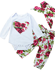 cheap -Baby Girls' Active Floral Print Long Sleeve Regular Regular Clothing Set White