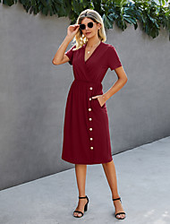 cheap -Women's Shirt Dress Knee Length Dress Blue Red Wine Black Army Green Short Sleeve Solid Color Spring Summer Casual / Daily 2021 S M L XL