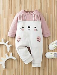 cheap -Baby Girls' Romper Basic Cotton Blushing Pink Cat Animal Print Long Sleeve / Spring