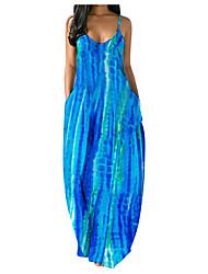 cheap -Women's Strap Dress Maxi long Dress Blue Purple Black Sleeveless Pattern Summer Casual / Daily 2021 S M L XL 2XL