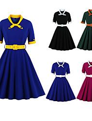 cheap -Audrey Hepburn Polka Dots 1950s Vintage Vacation Dress Dress Rockabilly Prom Dress Women's Costume Blue+Yellow / Black / White / Black Vintage Cosplay Homecoming Prom Short Sleeve Knee Length