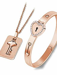 cheap -neomara lock bracelet and key necklace - titanium steel couples jewelry, romantic gift for valentines day, birthday, christmas, wedding, anniversary