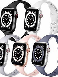 cheap -Smartwatch band compatible with apple watch band 44mm 42mm iwatch se & series 6 5 4 3 2 1 for women men, slim silicone durable sport 5 pack replacement strap (black/white/gray/sand pink/blue gray)
