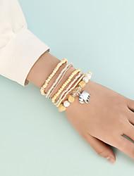 cheap -Bead Bracelet Set Stacking Stackable Elephant Cute Sweet Boho Acrylic Bracelet Jewelry Yellow For Gift Beach