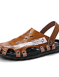 cheap -Men's Sandals Crochet Leather Shoes Flat Sandals Casual Beach Roman Shoes Daily Outdoor Walking Shoes Nappa Leather Cowhide Breathable Handmade Non-slipping Booties / Ankle Boots Light Brown Dark