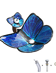 cheap -Blue butterfly shaped tempered glass wash basin with waterfall faucet basin holder