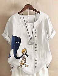 cheap -Women's Plus Size Tops Blouse Shirt Elephant Button Short Sleeve Round Neck Spring Summer Light Blue Navy Green Big Size L XL 2XL 3XL 4XL
