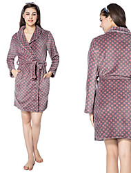 cheap -Flannel Medium Length Bathrobe for Women with Red Spots Pattern for Warmth and Comfort Homewear