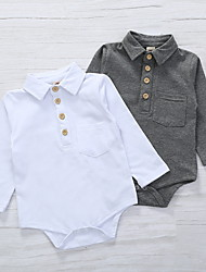 cheap -Baby Boys' Basic Solid Colored Patchwork Long Sleeve Romper White Gray