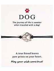 cheap -puppy dog bracelet friendship gift for best friend couples pet memorial sympathy gift adjustable string charm bracelet for women men girls boys paw print jewelry dog lover dog mom loss of dog gift