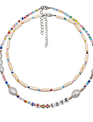 cheap -Women's Choker Necklace Beaded Necklace Alphabet Shape Colorful Vintage Holiday Cute Pearl Acrylic Stone Picture color White Rainbow 42 cm Necklace Jewelry 2pcs For Gift Prom Birthday Party Beach