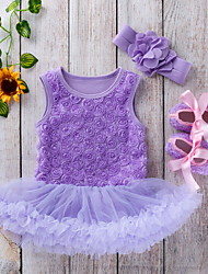 cheap -Baby Girls' Basic Solid Colored Mesh Bow Short Sleeve Dress White Purple Red