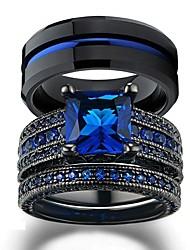 cheap -Couple Rings Black Gold Filled Princess Cut Blue Cz Womens Wedding Ring Man Tungsten Wedding Band